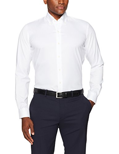 "BUTTONED DOWN Men's Slim Fit Button-Collar Non-Iron Dress Shirt (No Pocket), White, 16.5"" Neck 37"" Sleeve - Zions Marketplace"