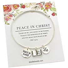 Peace in Christ Wire Bangle Bracelet Silver, LDS Mutual Theme 2018