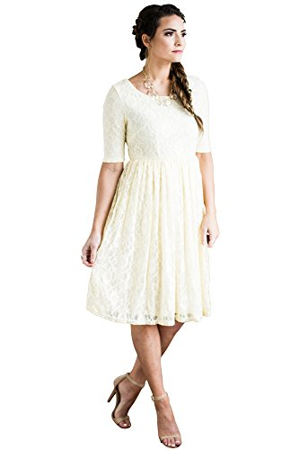 Mikarose Emmy Modest Dress in Cream Lace, Modest Bridesmaid Dress or Semi-Formal Dress - M