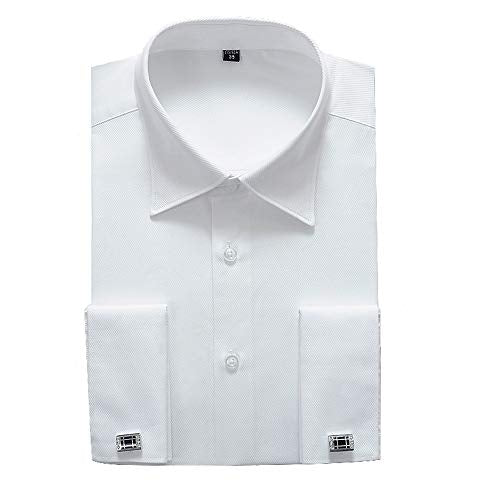 "Alimens & Gentle French Cuff Regular Fit Dress Shirts (Cufflink Included) (18"" Neck - 34""/35"" Sleeve, White - Zions Marketplace"