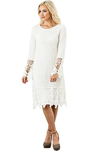 Mikarose Lydia Modest Boho Dress in Cream w/Lace Overlay - XL, Modest Bridesmaid Dress in Ivory or Off-White