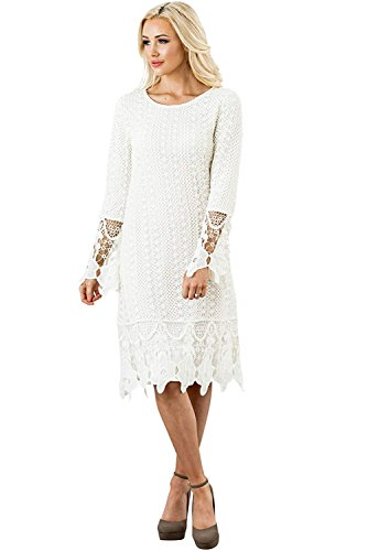 Mikarose Lydia Modest Boho Dress in Cream w/Lace Overlay - M, Modest Bridesmaid Dress in Ivory or Off-White