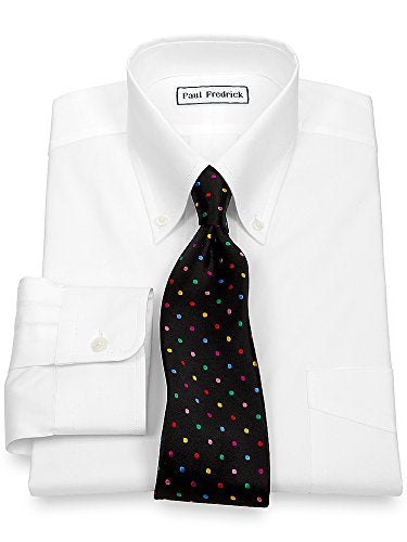Paul Fredrick Men's Pinpoint Button Down Collar Button Cuff Dress Shirt White 18.0/33
