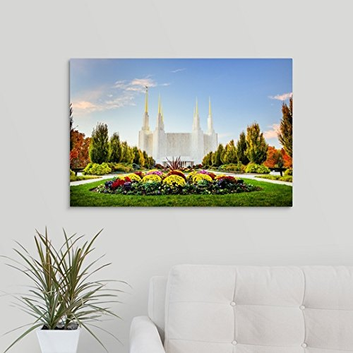 "Scott Jarvie Premium Thick-Wrap Canvas Wall Art Print Entitled Washington DC Temple with Flowers, South Kensington, Maryland 30""x20"""