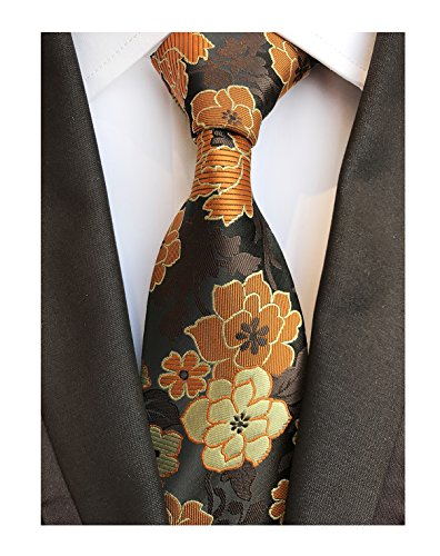 Men's Orange Yellow Brown Black Woven Silk Tie Business Suit Boys Dress Neckties