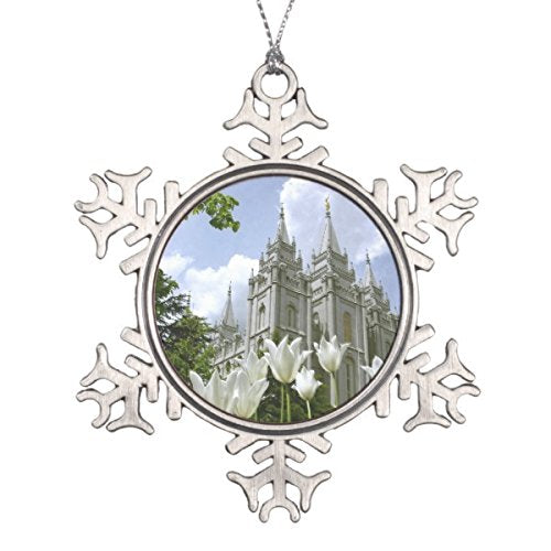 Follies Christmas Salt Lake City, LDS Temple Snowflake Pewter Christmas Ornament - Zions Marketplace