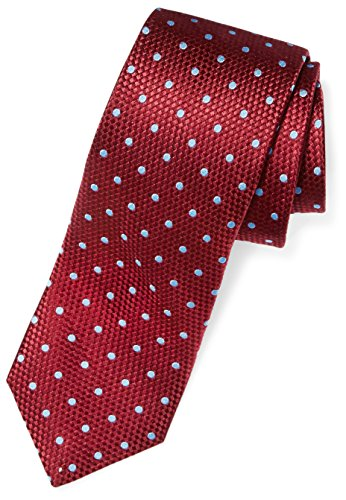 "BUTTONED DOWN Men's Classic Silk 3"" Necktie, burgundy/light blue Dot (Contrast Tail: Stripes), X-Long - Zions Marketplace"