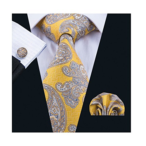 Dubulle Paisley Modern Fashion New Designer Ties Set Necktie and Pocket Square Cufflinks for Mens Dress Silk Wedding Ties Yellow - Zions Marketplace