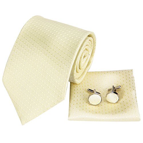 Dubulle Fashion Mens Silk Tie for Wedding Mens Formal Dress Tie Pocket Square Champagne Plain Tie - Zions Marketplace