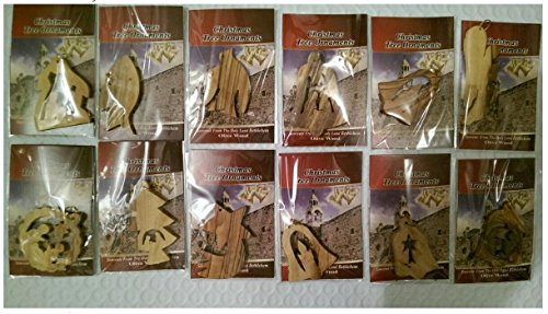 Bethlehem Olive Wood Complete Christmas Ornament Set. Nativity Story by Bethlehem Gifts TM (Set of 12) - Zions Marketplace