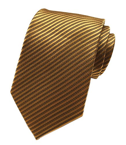 Elfeves Yellow Bronze Silk Tie Formal Dress Necktie Decent Holiday Gifts for men - Zions Marketplace