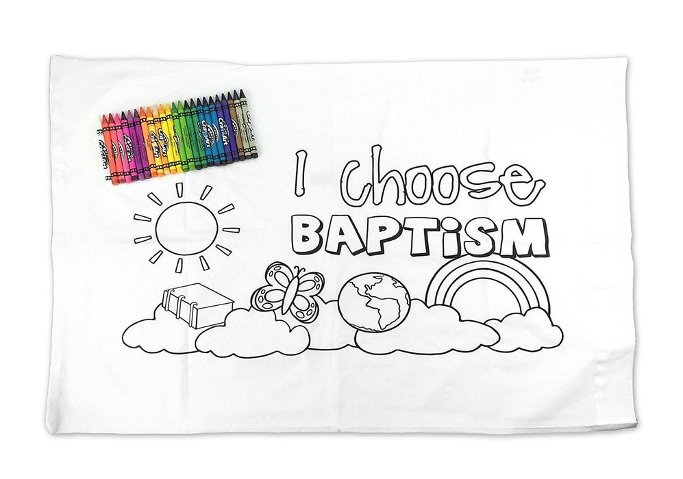 "LDS Kid's Baptism Pillowcase - Color Your Own - ""I Choose Baptism"" - Includes 24 Crayons - 29""x19"" - Zions Marketplace"