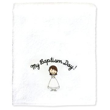 My Baptism Towel - Brown Haired Girl