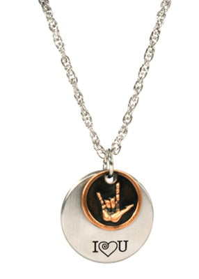 2 piece I Love You Sign Language Necklace - Zions Marketplace