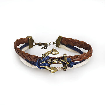 Bracelet, Navy Braided Anchor - Zions Marketplace