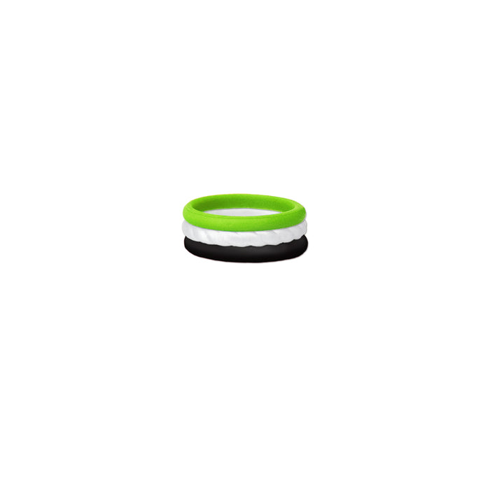 Grn,wht, Blk Silicone Ring