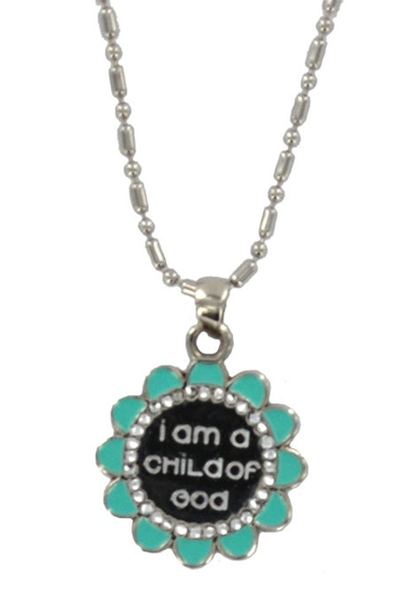 LDS Flower Child of God Necklace-Teal - Zions Marketplace