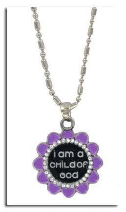 LDS Flower Child of God Necklace-Purple - Zions Marketplace