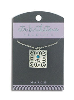 CTR Birthstone Necklaces - March - Zions Marketplace