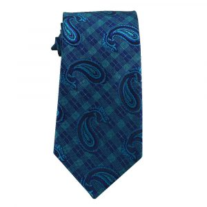 Mens Blue and Aqua Plaid Paisley
