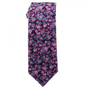 Purple with pink Flowers Cotton Floral Tie