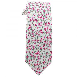 White with pink Flowers Cotton Floral Tie