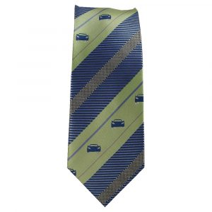 Green and Blue Stripe Sports Car Tie for Car Lovers