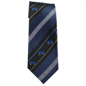 Navy Blue Stripe Sports Car Tie for Car Lovers