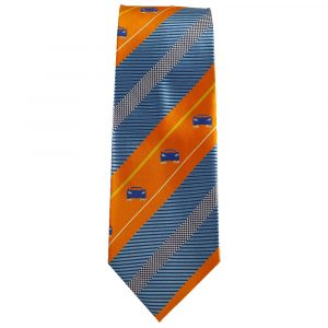 Orange and Blue Stripe Sports Car Tie for Car Lovers