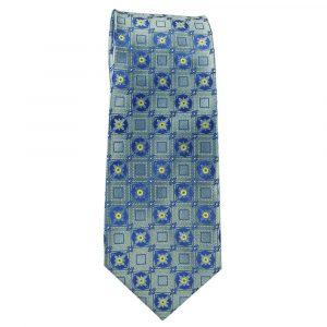 Mens Pale Blue and Yellow Micro Pattern
