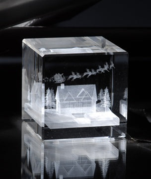 Up on the House Top Crystal Cube
