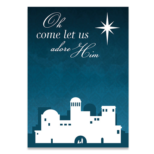 Adore Him Blue Christmas Card - Zions Marketplace