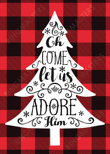 Adore Him Plaid Christmas Card - Zions Marketplace