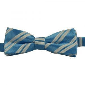 BBow310 Boys Pretied Bow Tie Baby Blue and White Stripes - Zions Marketplace