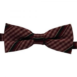 BBow317 Boys Pretied Bow Tie Cranberry Gingham and Midnight Blue Stripes - Zions Marketplace