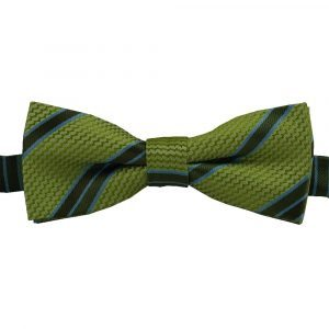BBow342 Boys Pretied Bow Tie Key Lime Basket Weave with Olive Green and Pacific Blue Stripes - Zions Marketplace