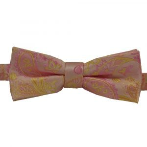 BBow326 Boys Pretied Bow Tie Bubble Gum Pink and Canary Yellow Paisley - Zions Marketplace