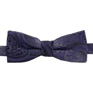 BBow315 Boys Pretied Bow Tie Lilac Paisley with Charcoal - Zions Marketplace
