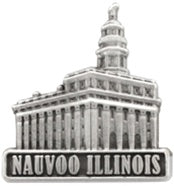 Pin, LDS Nauvoo Illinois Temple antiqued silver finish