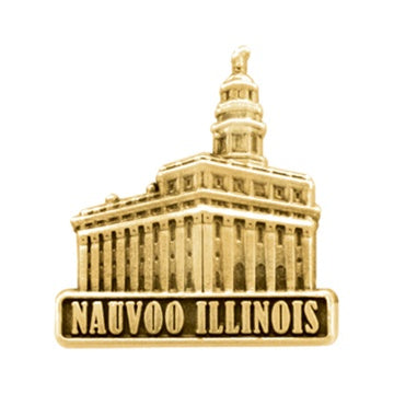 Pin, LDS Nauvoo Illinois Temple antiqued gold finish