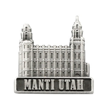 LDS Manti Utah Temple, antiqued silver finish - Zions Marketplace