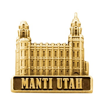 LDS Manti Utah Temple, antiqued gold finish - Zions Marketplace