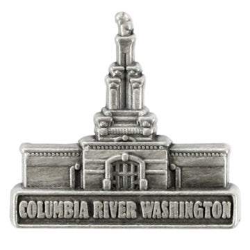 LDS Columbia River Washington Temple Pin Silver - Zions Marketplace