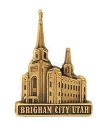 LDS Brigham City Temple antiqued gold finish - Zions Marketplace