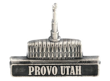 LDS Provo Temple pin, antiqued silver finish - Zions Marketplace