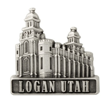 LDS Logan Temple pin, antiqued silver finish - Zions Marketplace