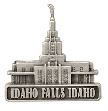 LDS Idaho Falls Temple pin, antiqued silver finish - Zions Marketplace