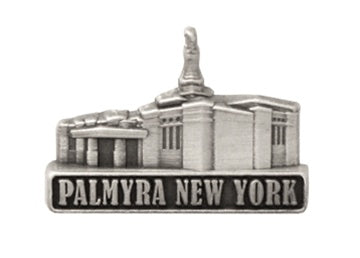 LDS Palmyra Temple pin, antiqued silver finish - Zions Marketplace