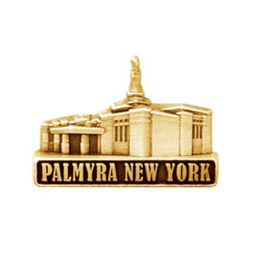 LDS Palmyra Temple pin, antiqued gold finish - Zions Marketplace