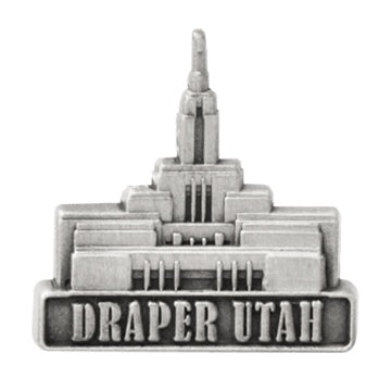 LDS Draper Temple pin, antiqued silver finish - Zions Marketplace